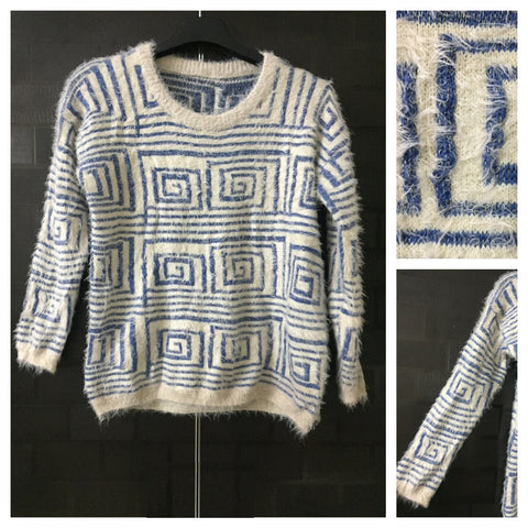 Warm - Fluffy Blue & Silver thread design Sweater.