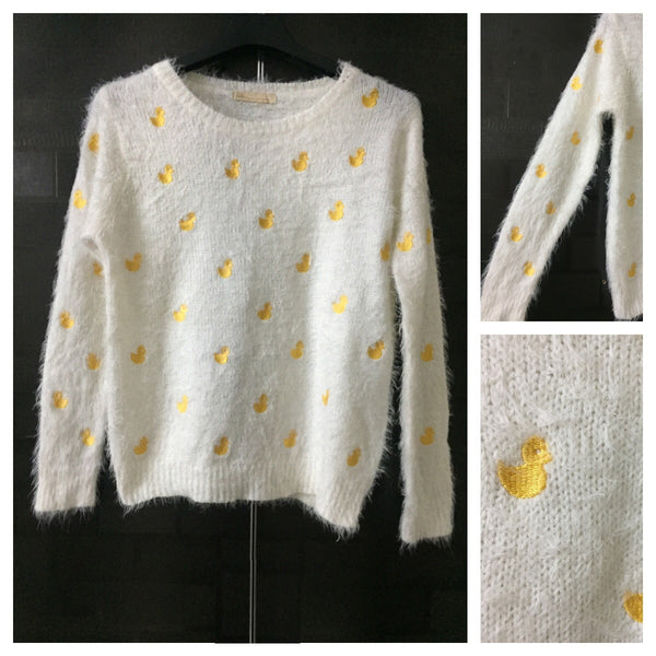 Warm - Fluffy Yellow Ducklings - White Sweater