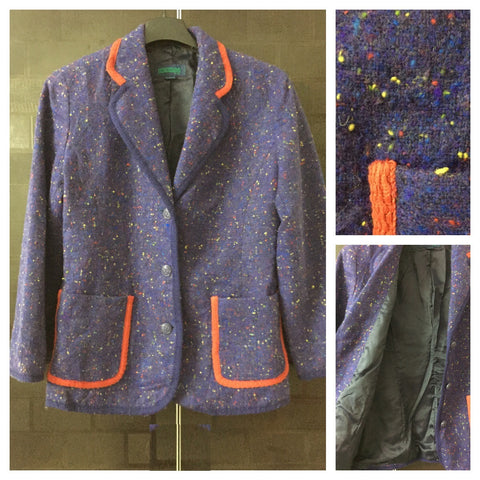 Warm - Multicolor threads on Purplish-Blue Blazer