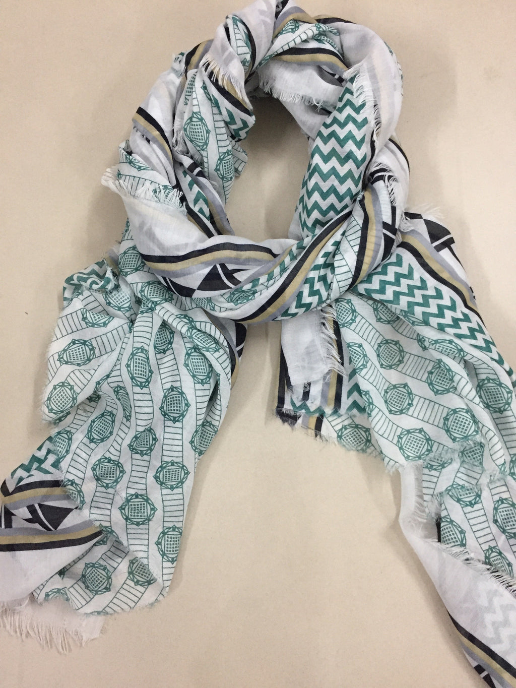 Rectangular - Green and Black Printed Scarf