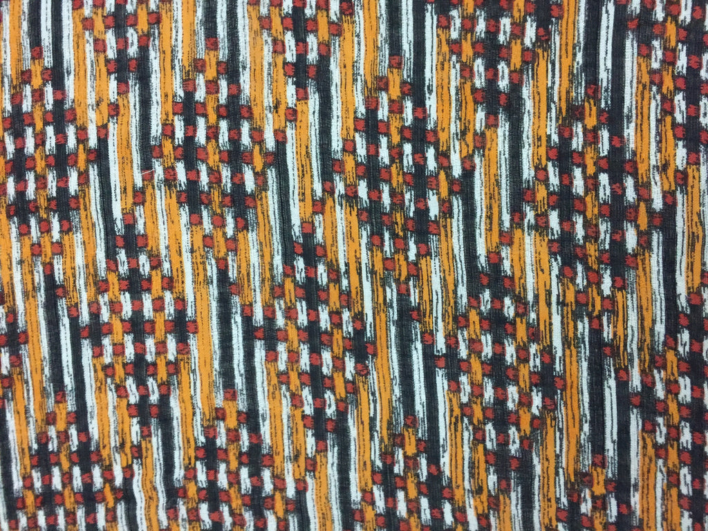 Rectangular - Mustard - Rust and Black Printed Scarf