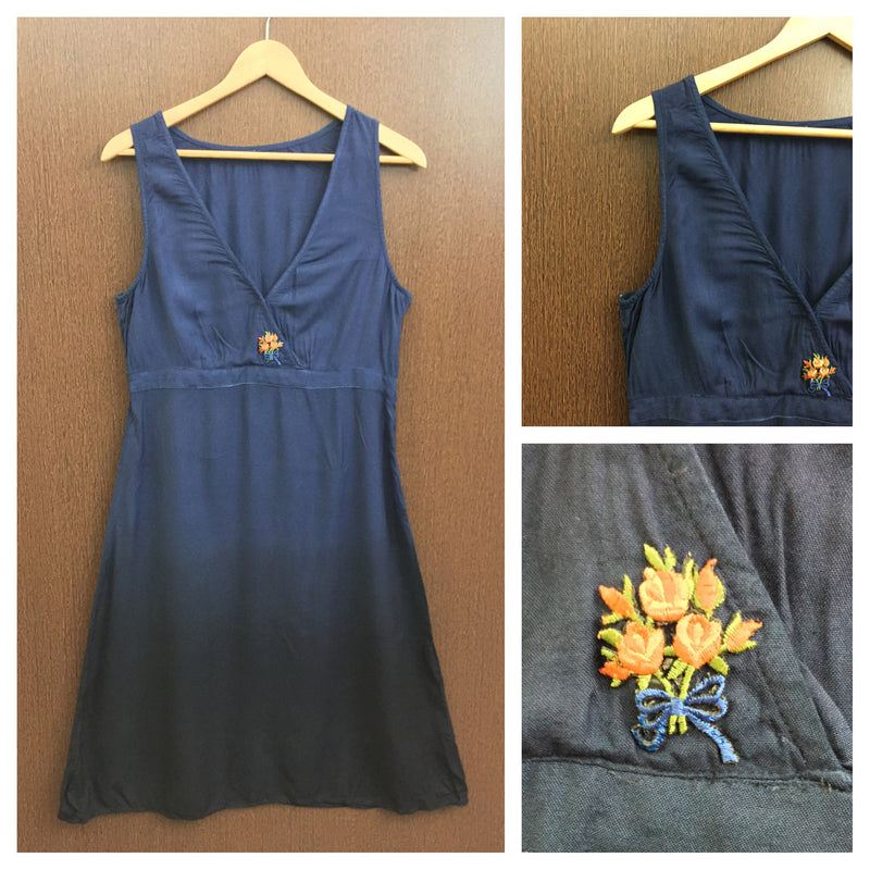 1 Bunch Of Orange Flower On Blue Black Long Dress