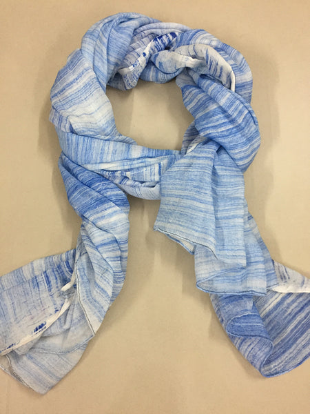 Rectangular - Pretty Stripes Light and Dark Blue Scarf