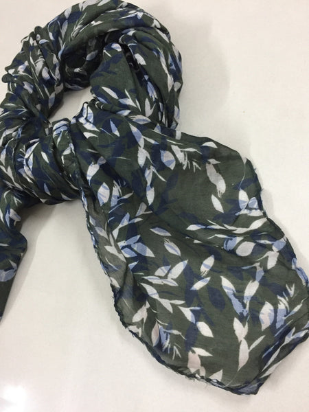 Rectangular - Blue and Brown Leaves Printed Scarf