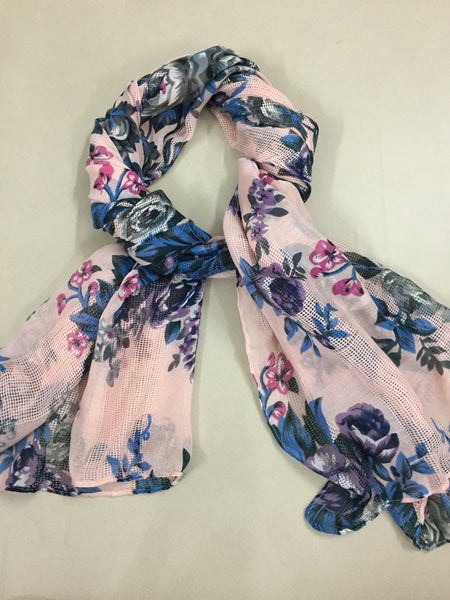 Rectangular - Partially Netted,  Pretty Pink Floral Scarf