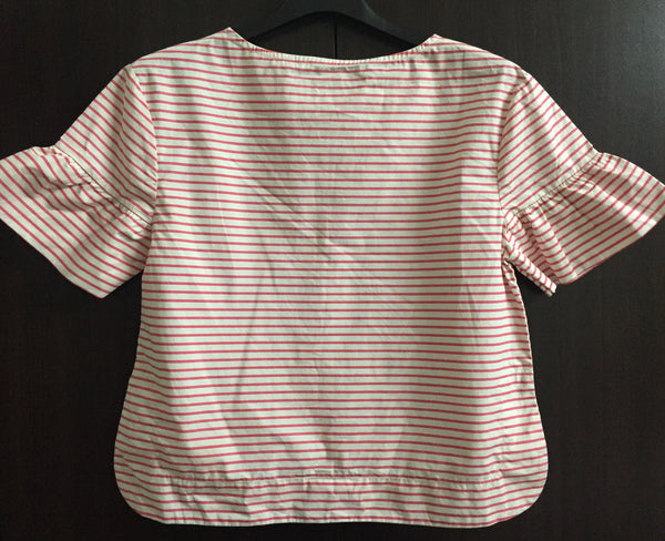 Pink and White Striped Top with Drooping shoulders