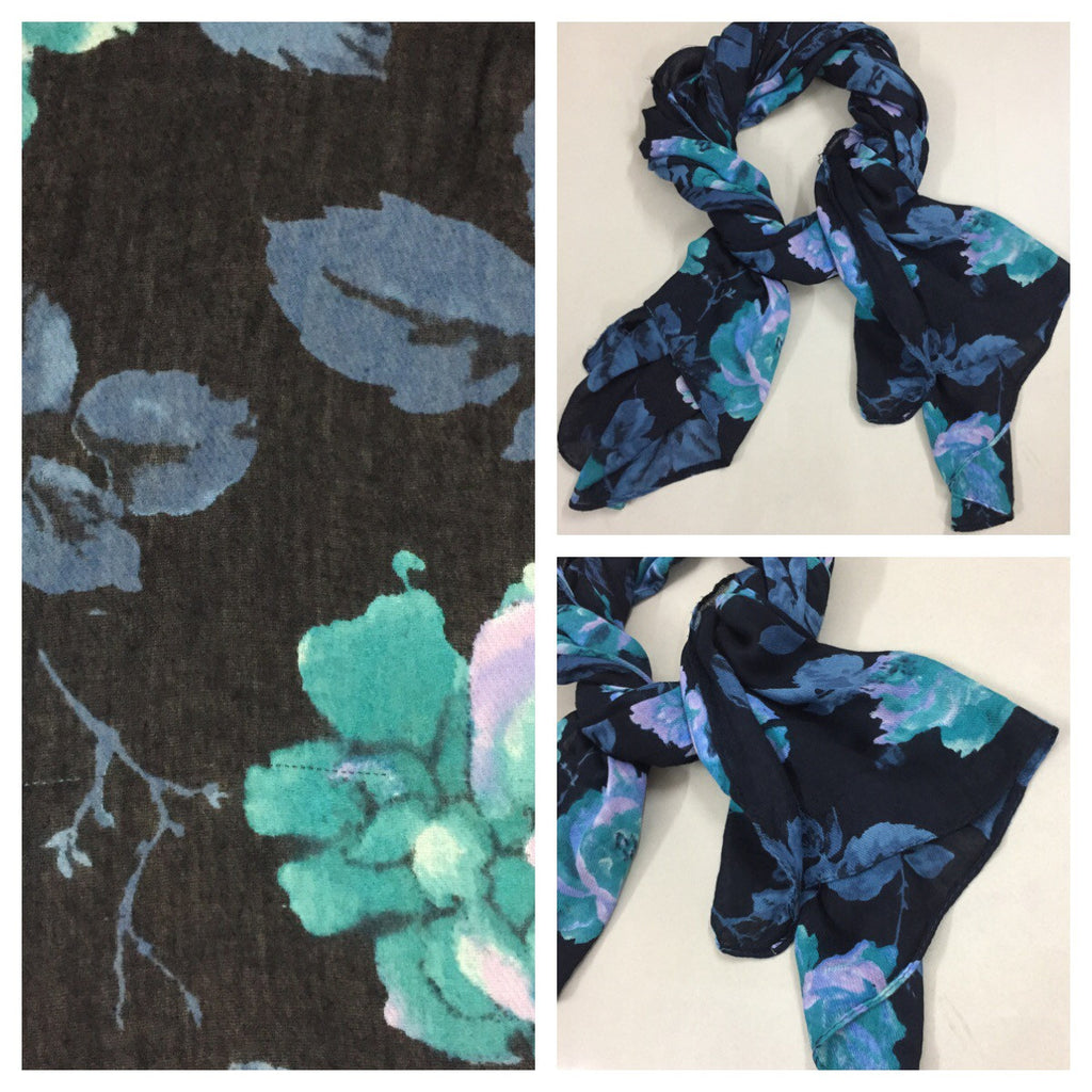 Rectangular - Vibrant Blue/Green Flowers on Black Scarf