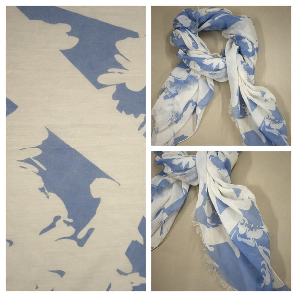 Rectangular - Pretty White and Blue Printed Scarf