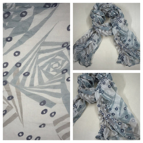 Rectangular - Printed Grey Scarf