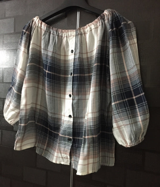 Checks - Off Shoulder -Grey White and Blue Off Shoulder Top