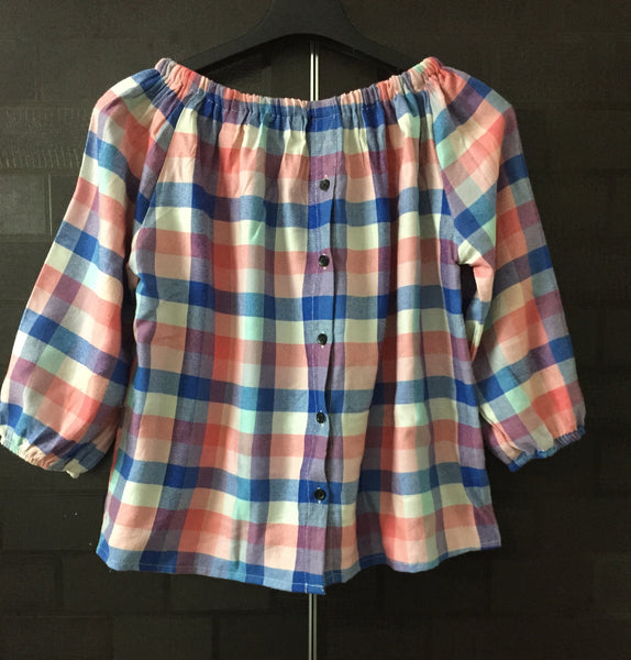 Checks - Off Shoulder -Pink Blue and White Top