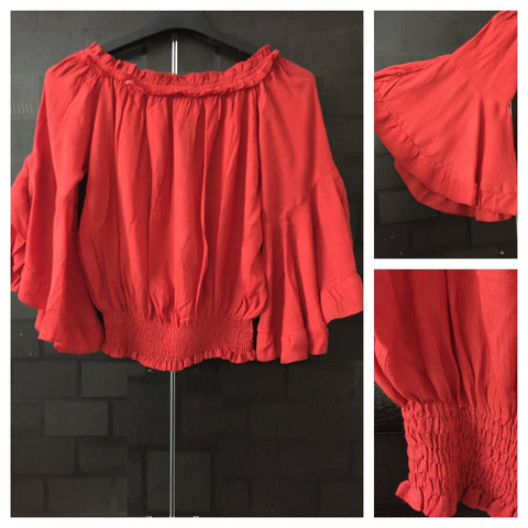 Off Shoulder - Red Top with Elastic on Neck, Waist and Fun Sleeves.