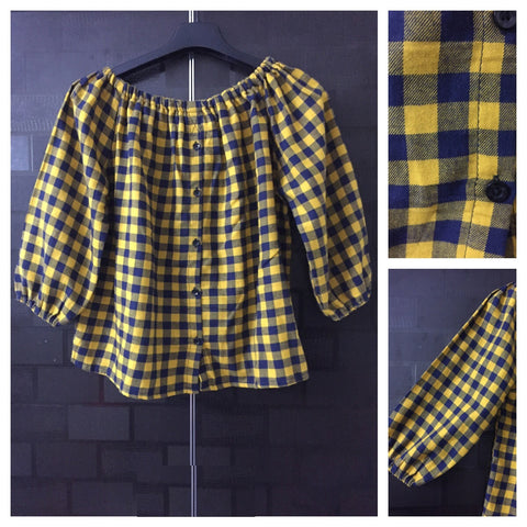 Checks - Off Shoulder -Yellow and Black Off Shoulder Top