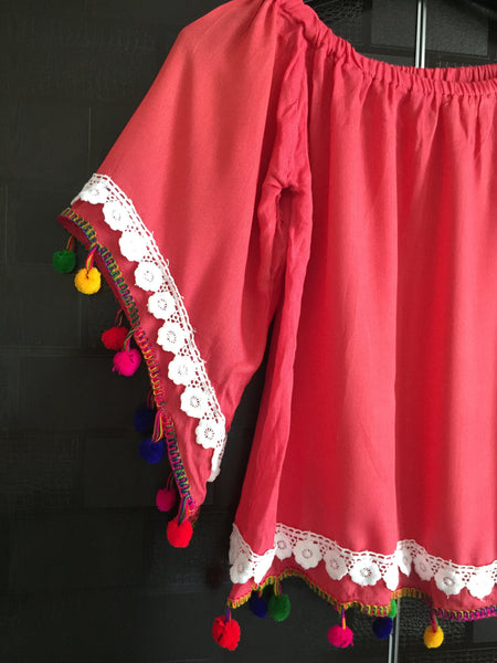 Pretty Pink On - Off Shoulder - Bell Sleeved Top with pom-poms and lace