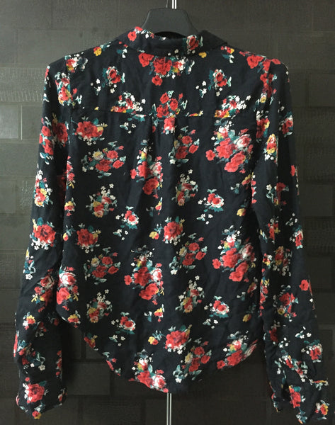 Pretty Red Flowers on Black Fitted High - Low Shirt