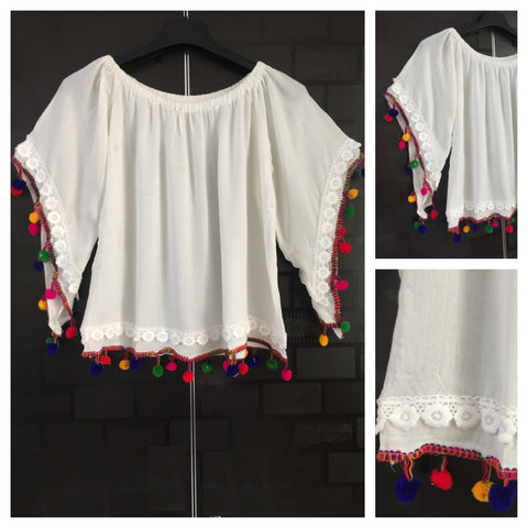 Pretty White On - Off Shoulder - Bell Sleeved Top with pom-poms and lace