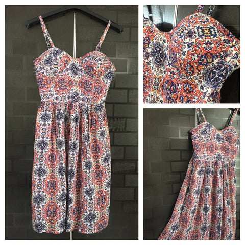 Orange Blue Floral Printed Off - White Spaghetti Dress with adjustable straps