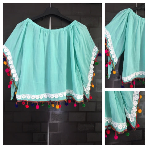 Pretty Green - Blue On - Off Shoulder - Bell Sleeved Top with pom-poms and lace