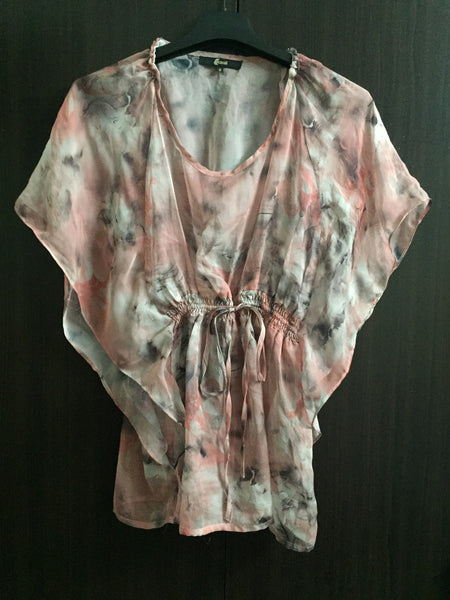 Pink and Grey pretty front tie top