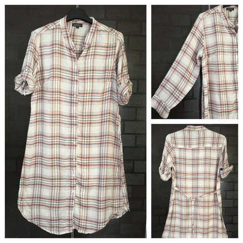 Back Tie - Checked - Tunic Front Buttoned Shirtdress - Pink, Grey and Off - White