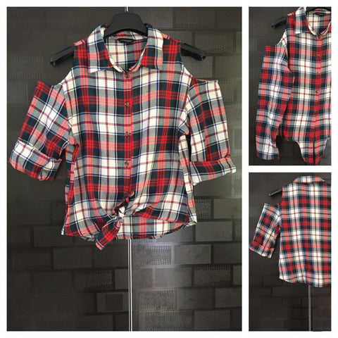 Checked Cold - Shoulder - White,Green & Red Check Shirt with front knot