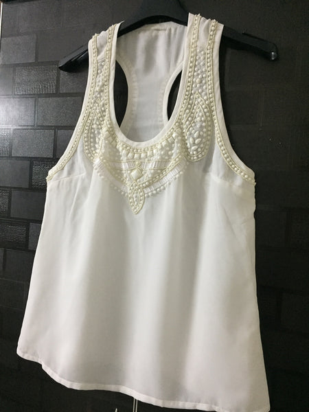 Pretty White sequins on white racer back Top