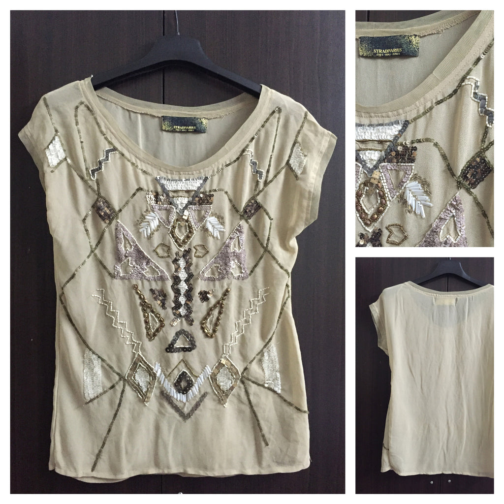 Light Brown Multi-sequin Top
