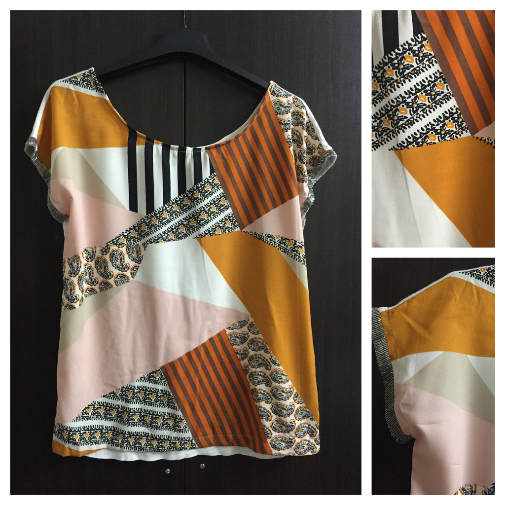 Mustard - Stripes and print Casual Top with sequins on borders of sleeves
