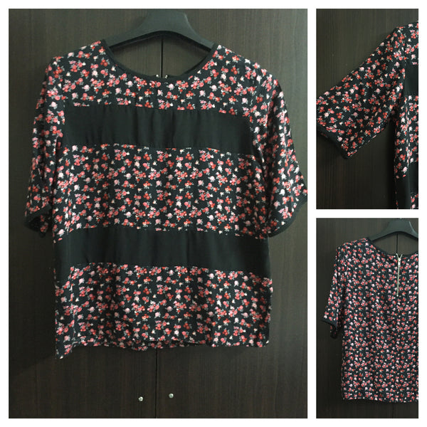 Floral Panel Top with back zipper