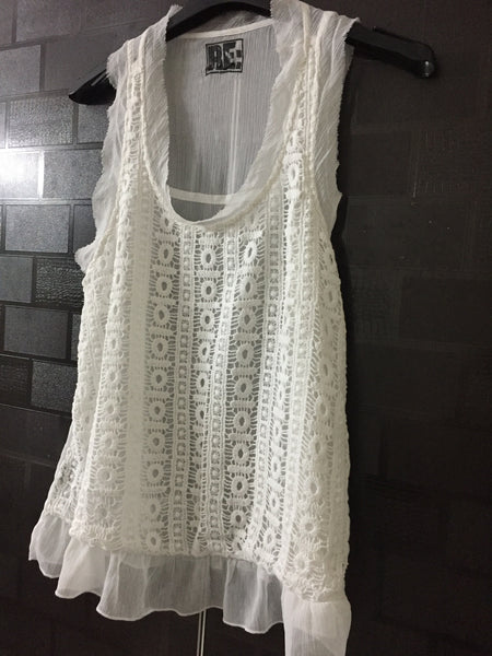 Cream Sleeveless top with Pretty net on front