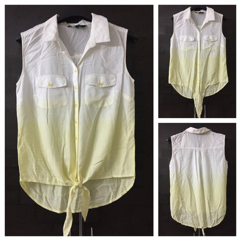 Dual Shades, Yellow and White Front Tie Sleeveless Shirt