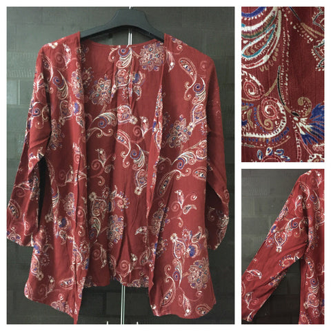 Rust Printed Casual Shrug