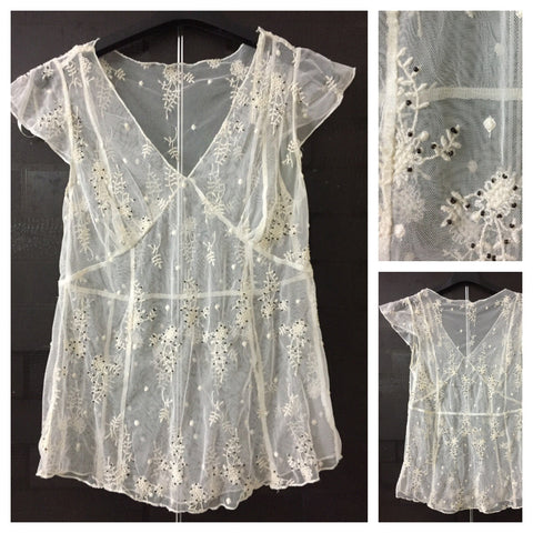 Cream Net Top with little brown beads