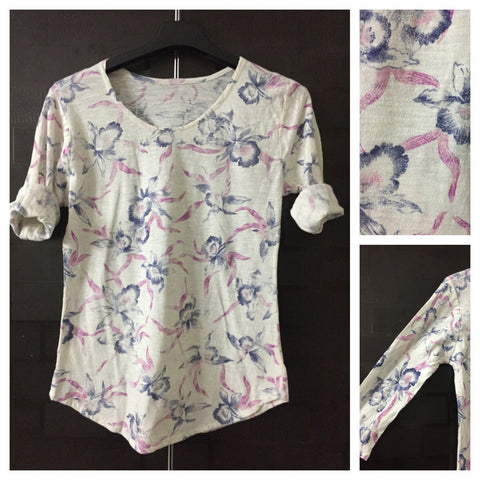 Pretty Pink and Blue Flowers on Cream Tee