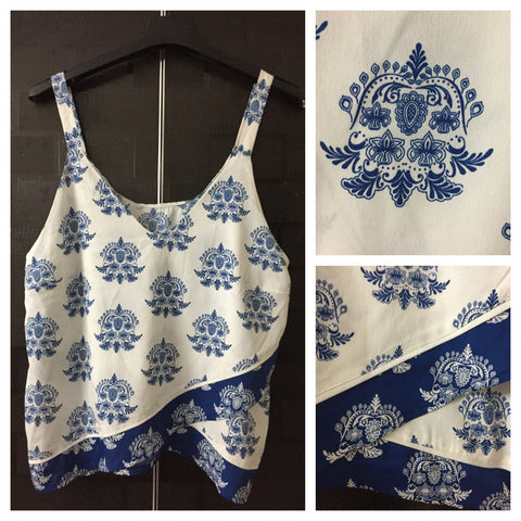 Blue Printed, Front Flapped Spaghetti Top