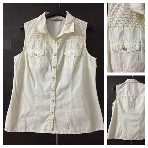 Cream Sleeveless Denim Feel Shirt with little pearl sequins