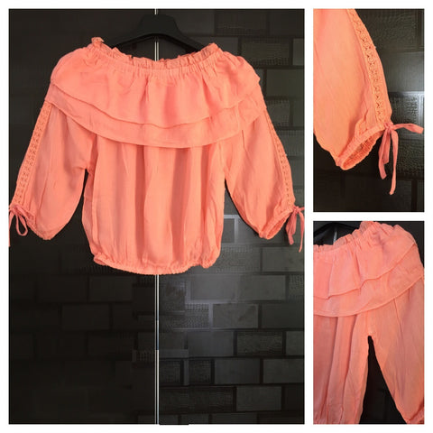 Stylish - Laced Arm Off shoulder Top - Light Pink