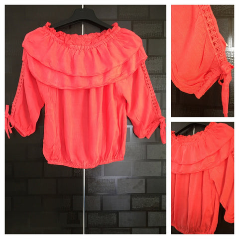 Stylish - Laced Arm Off shoulder Top - Dark Pink