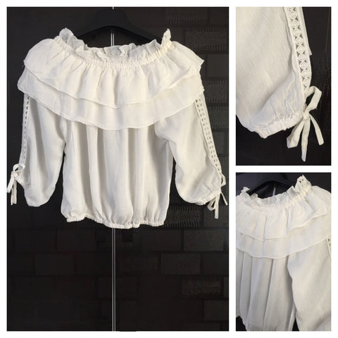 Stylish - Laced Arm Off shoulder Top - White