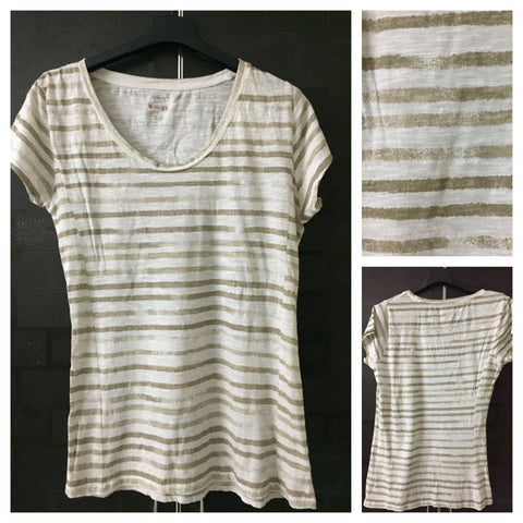 Brown and Cream Casual Stripes Tee