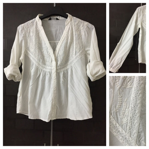 Elegant Cream Shirt with Embroidery and lace on front