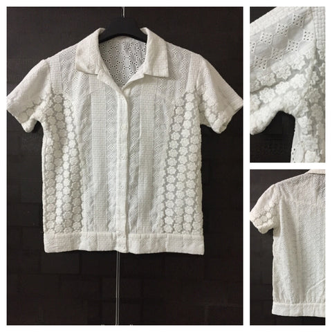 Full embroidery and Cut-work Beautiful White Shirt
