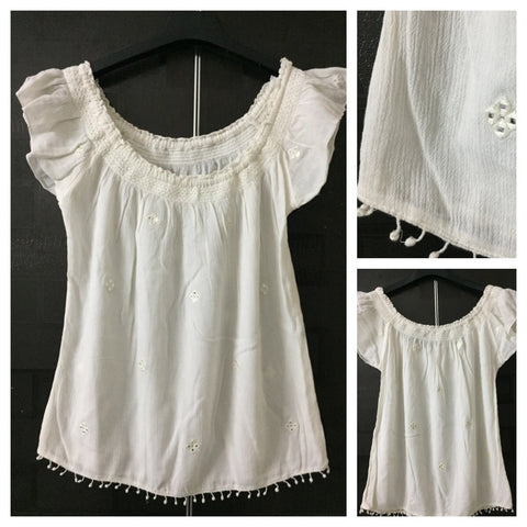 Cream On - Off Shoulder Top with mirror pretty mirror work