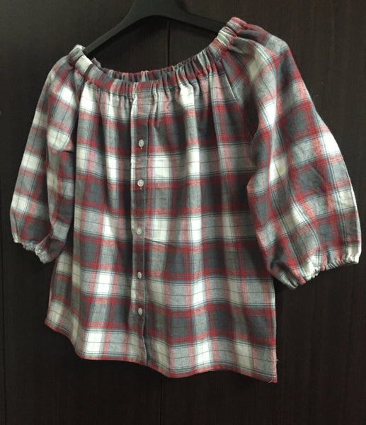 Warm Checks - Red/Grey/White Off shoulder top.