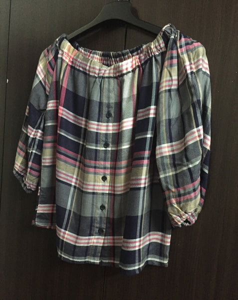 Checks - Navy Blue/Pink/Yellow/White Off shoulder top