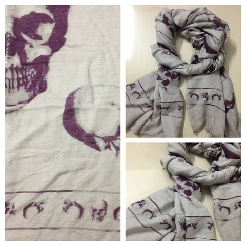 Rectangular - Purple Skulls on Edges - Brown Scarf