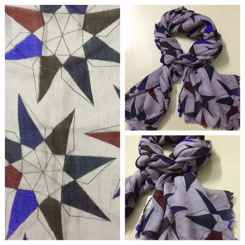 Rectangular - Vibrant Geometric Design on Grey Scarf