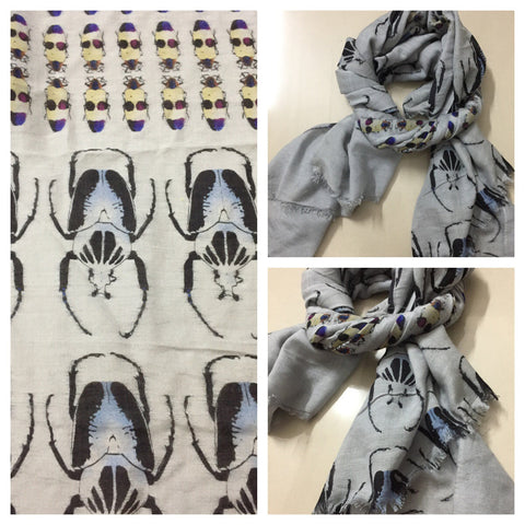 Rectangular - Army of Insects Grey Scarf