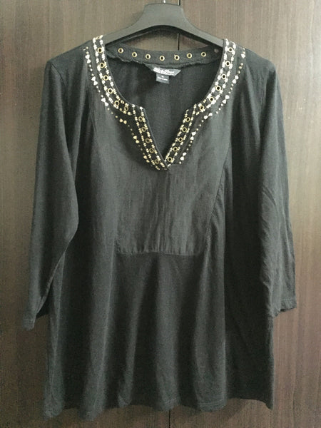 Casual Black Top with Bronze rings - #FTFY - For The Fun Years