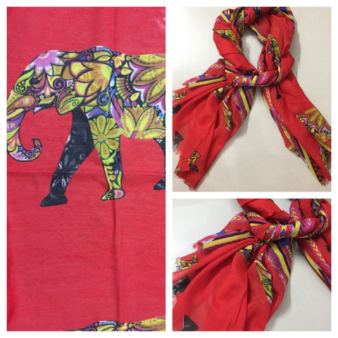 Rectangular - Colorful Elephant on Red Scarf